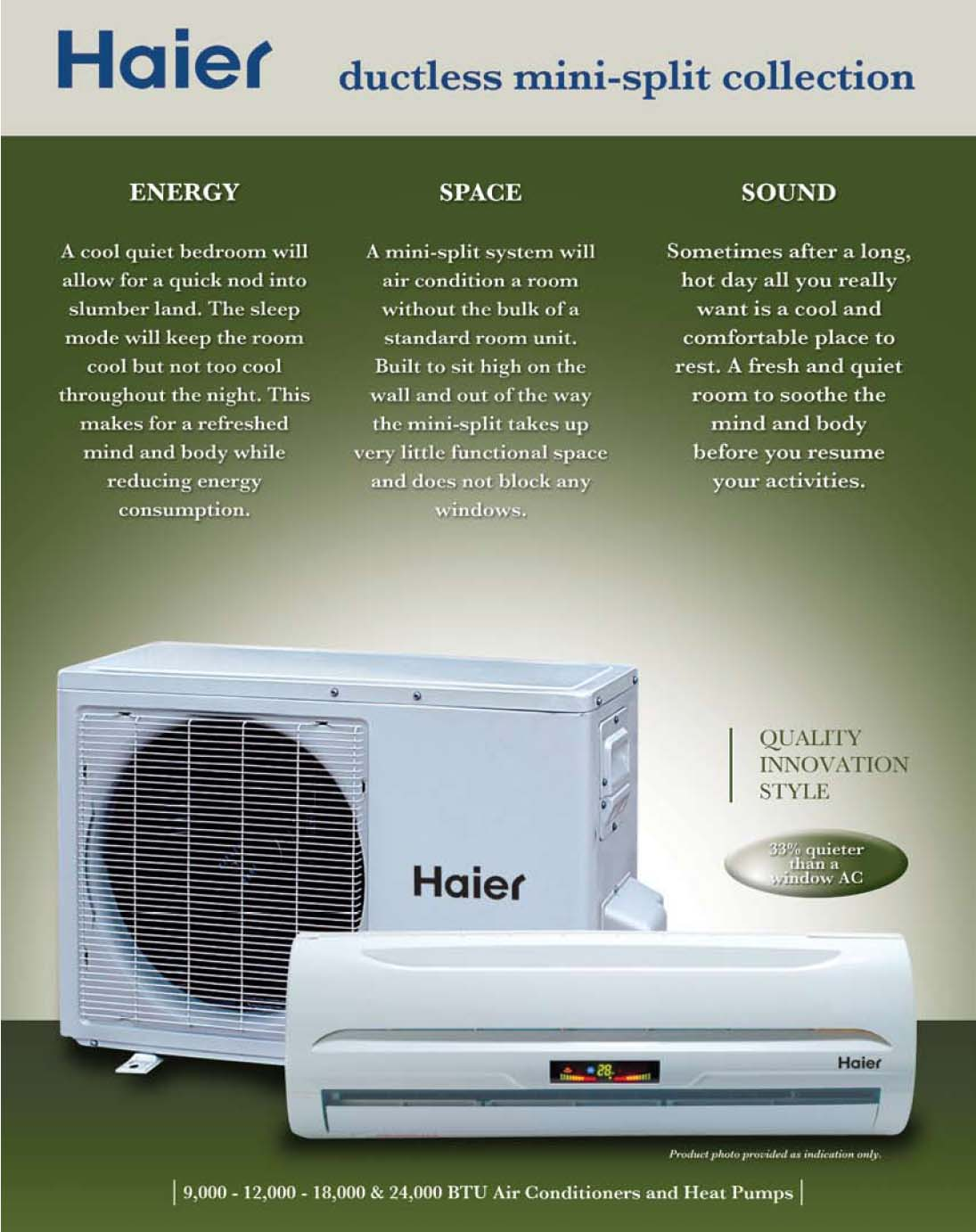 The Haier Ductless Single Zone mini split air conditioner systems with  #2D4868